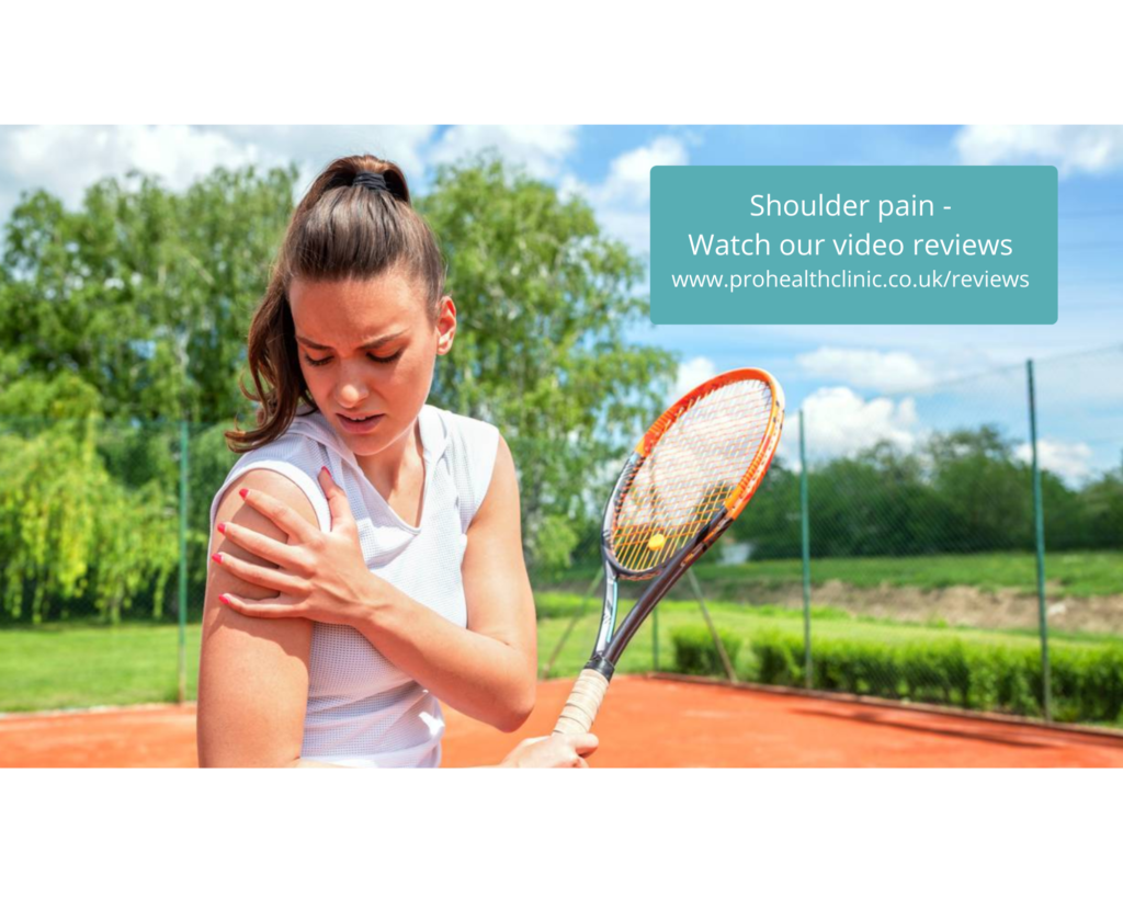 A tennis player with shoulder pain needing platelet-rich plasma