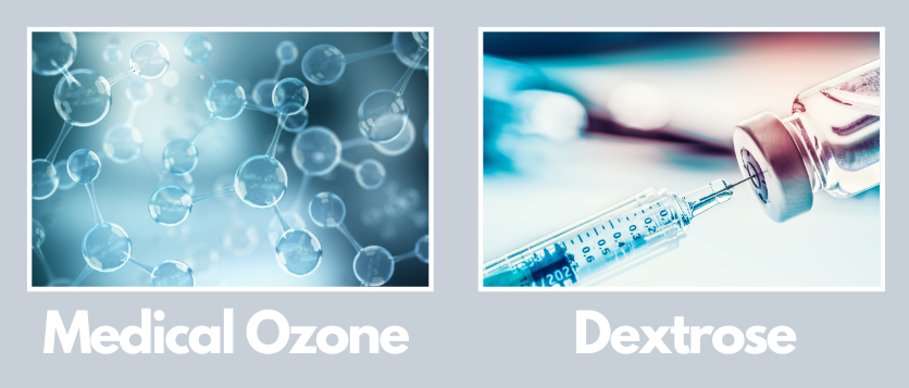 Types of prolotherapy showing medical ozone and dextrose
