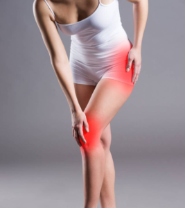 A lady with pain in her knee and hip that needs prolotherapy
