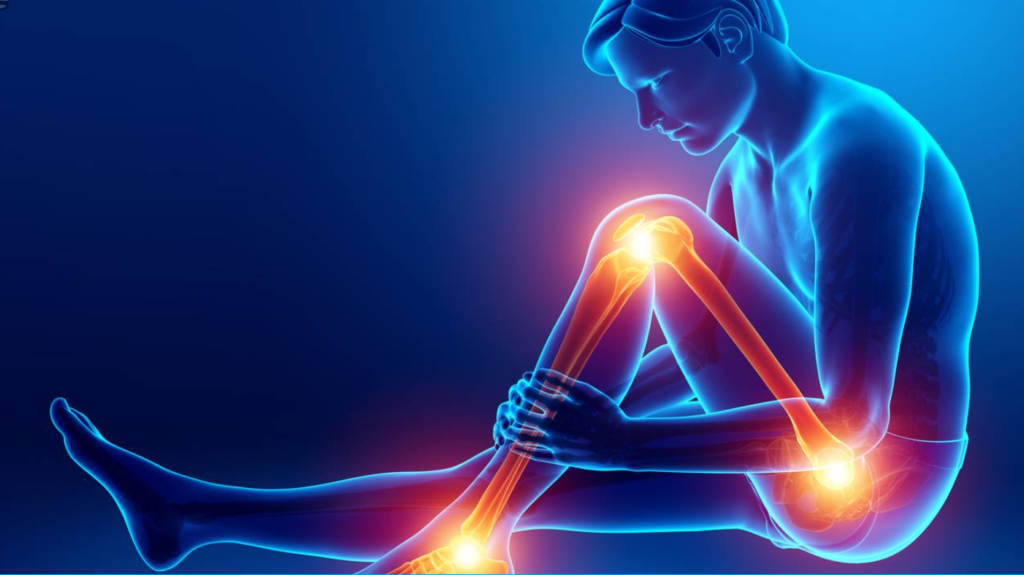 A graphic of a man sitting down holding his leg pain